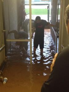Crazy rain in dugout